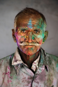 _SAM7710, Rajasthan, India, 03/2009, INDIA-11524. A man covered in colored powder for Holi. CAPTION: Man Covered in Powder. Rajasthan, India, 2009. IG: A man covered in powder during Holi Festival in India. MAX PRINT SIZE: 40x60 Man covered in powder during Holi, the festival of colors. Rajasthan, 2009 -India Book (pg. 11) PORTRAITS_APP final print_Genoa final print_Zurich India_Book Fine Art Print final print_Rubin retouched_Sonny Fabbri 08/04/2016 MCS2009003G11524, NYC135343